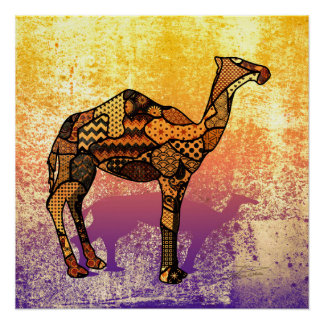 Abstract Collage Ozzy the Camel ID102 Perfect Poster