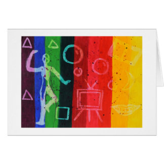 Abstract color bar art note card