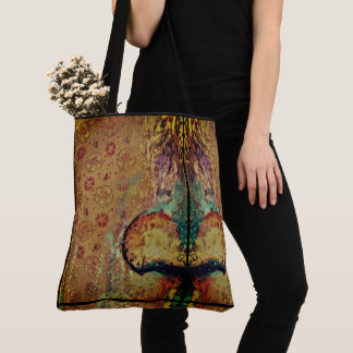 Abstract Color Design with a hint of Floral Tote Bag