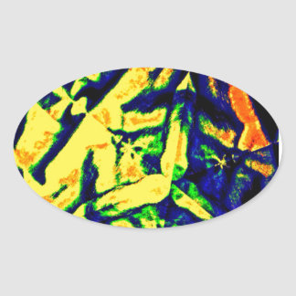 Abstract Color Mix Oval Sticker