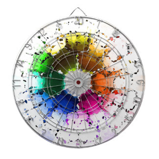 Abstract Color Wheel Dartboard With Darts