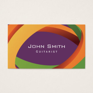 Abstract Colored Curves Guitarist Business Card