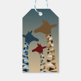 Abstract Colored Giraffe Family Gift Tags
