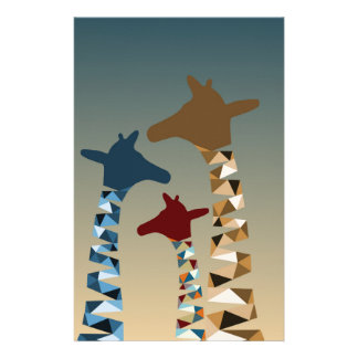 Abstract Colored Giraffe Family Stationery