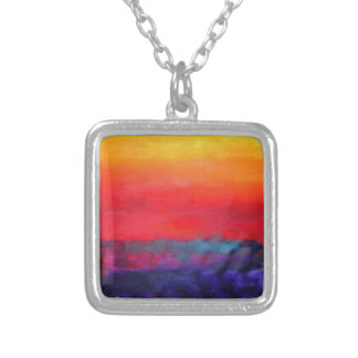 Abstract Colorful Art Painting Modern Design Decor Silver Plated Necklace