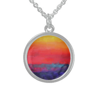 Abstract Colorful Art Painting Modern Design Decor Sterling Silver Necklace