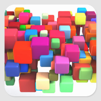 Abstract Colorful Background in Red, Blue, Green Square Sticker