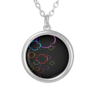 Abstract colorful background round pendant necklace