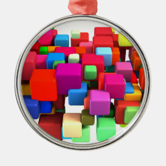 Abstract Colorful Background Silver-Colored Round Ornament