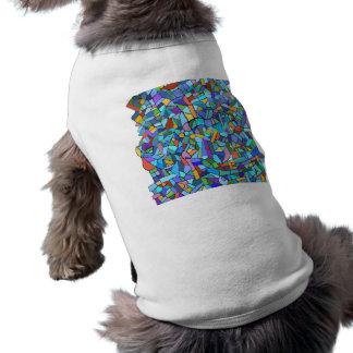 Abstract Colorful Blue Mosaic Pattern Dog T Shirt
