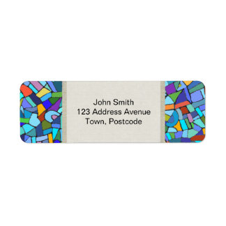 Abstract Colorful Blue Mosaic Pattern Return Address Label