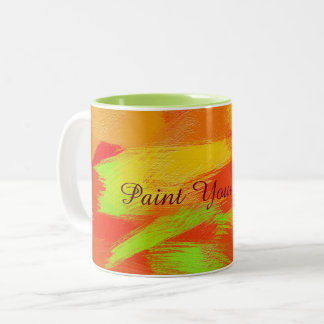Abstract colorful brush strokes texture.text. Two-Tone coffee mug