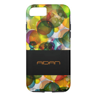 abstract colorful bubbles with stripe for text iPhone 7 case