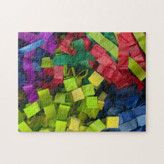 Abstract, colorful cut tissue pape jigsaw puzzle