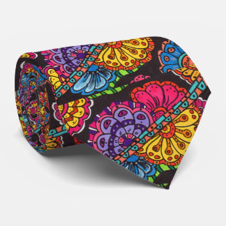 Abstract Colorful Doodle Graffiti Floral Flower Tie