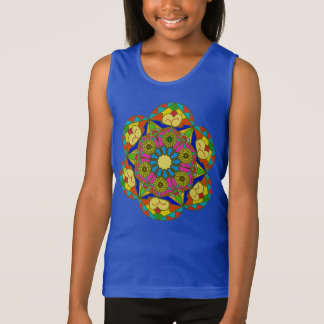 Abstract colorful drawing of the flower tank top