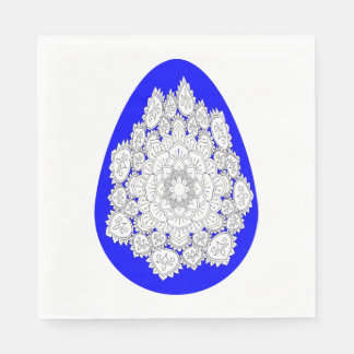 Abstract colorful easter egg whith drawing mandala paper napkin