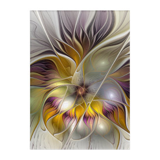 Abstract Colorful Fantasy Flower Modern Fractal Acrylic Wall Art