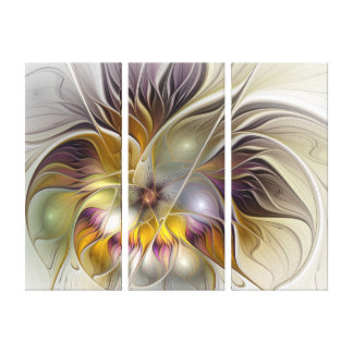 Abstract Colorful Fantasy Flower Modern Triptych Canvas Print