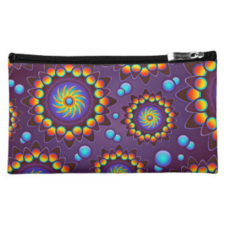 Abstract Colorful Flowers Pattern Cosmetics Bags