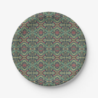 Abstract colorful hand drawn curly pattern design 7 inch paper plate