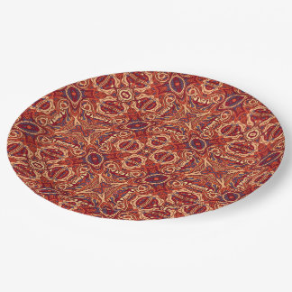 Abstract colorful hand drawn curly pattern design 9 inch paper plate