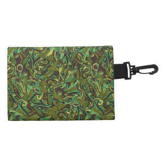 Abstract colorful hand drawn curly pattern design accessory bag