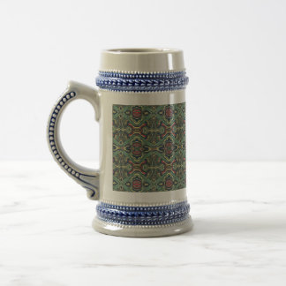 Abstract colorful hand drawn curly pattern design beer stein