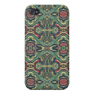 Abstract colorful hand drawn curly pattern design case for the iPhone 4