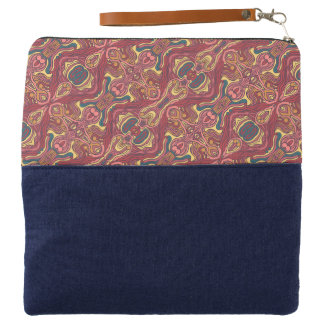 Abstract colorful hand drawn curly pattern design clutch