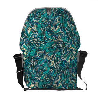 Abstract colorful hand drawn curly pattern design courier bags