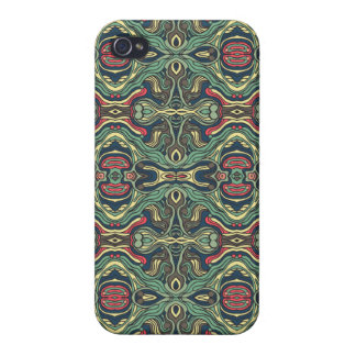 Abstract colorful hand drawn curly pattern design cover for iPhone 4