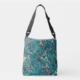 Abstract colorful hand drawn curly pattern design crossbody bag