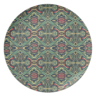 Abstract colorful hand drawn curly pattern design dinner plate
