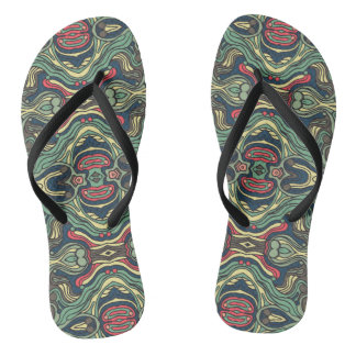 Abstract colorful hand drawn curly pattern design flip flops