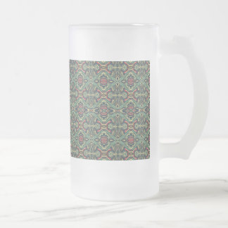 Abstract colorful hand drawn curly pattern design frosted glass beer mug