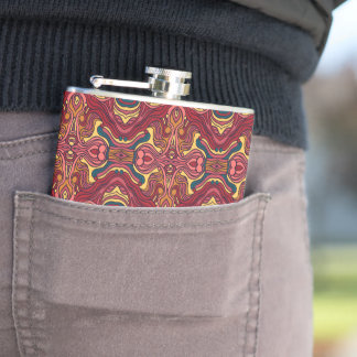 Abstract colorful hand drawn curly pattern design hip flask