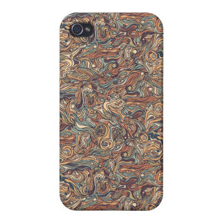 Abstract colorful hand drawn curly pattern design iPhone 4/4S case