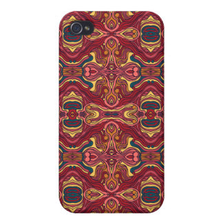 Abstract colorful hand drawn curly pattern design iPhone 4/4S covers