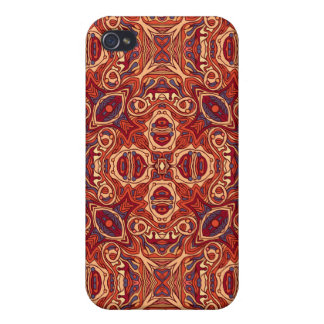 Abstract colorful hand drawn curly pattern design iPhone 4 case