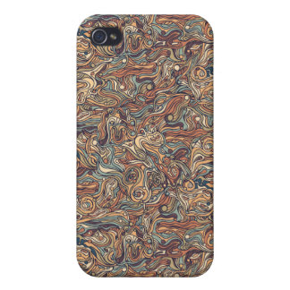 Abstract colorful hand drawn curly pattern design iPhone 4 cover