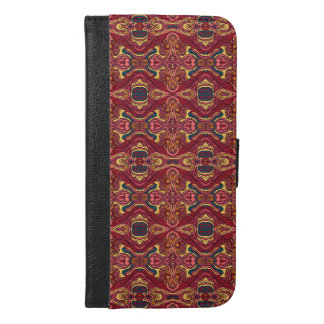 Abstract colorful hand drawn curly pattern design iPhone 6/6s plus wallet case