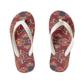 Abstract colorful hand drawn curly pattern design kid's flip flops
