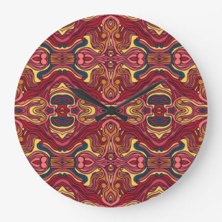 Abstract colorful hand drawn curly pattern design large clock