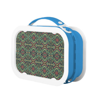 Abstract colorful hand drawn curly pattern design lunchbox