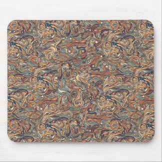 Abstract colorful hand drawn curly pattern design mouse pad