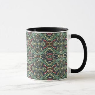 Abstract colorful hand drawn curly pattern design mug