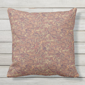 Abstract colorful hand drawn curly pattern design outdoor pillow