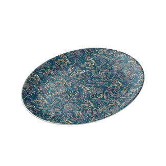 Abstract colorful hand drawn curly pattern design porcelain plates