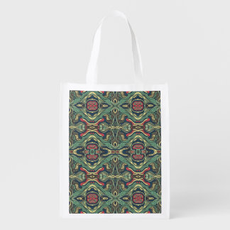 Abstract colorful hand drawn curly pattern design reusable grocery bag